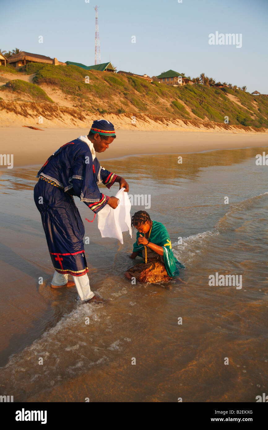 Zionist initiation on beach - Stock Image
