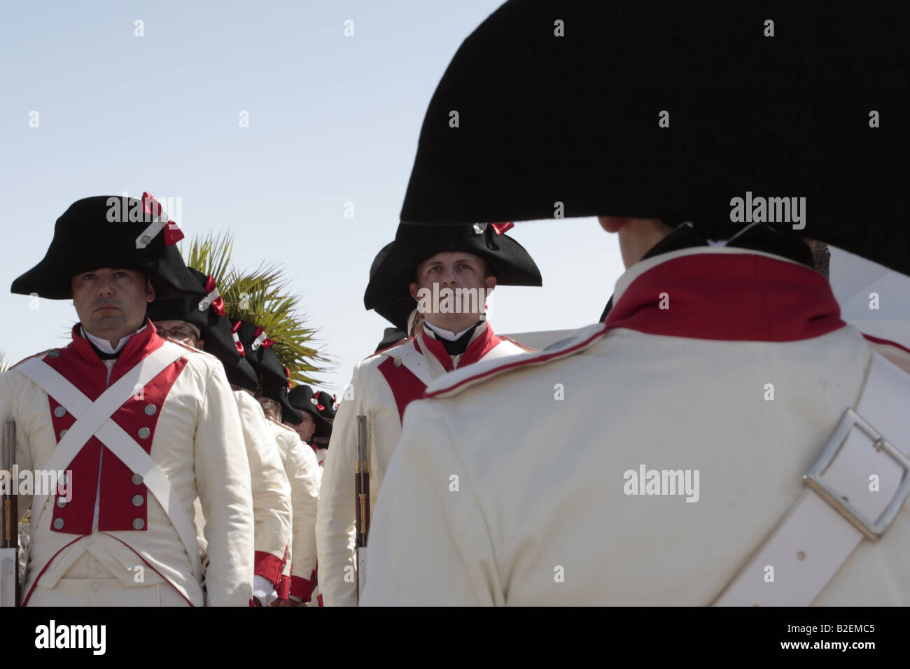 The Batallon de Canarias lines up ready to take part in the reenactment of the 1797 battle of Santa Cruz, Tenerife Stock Photo