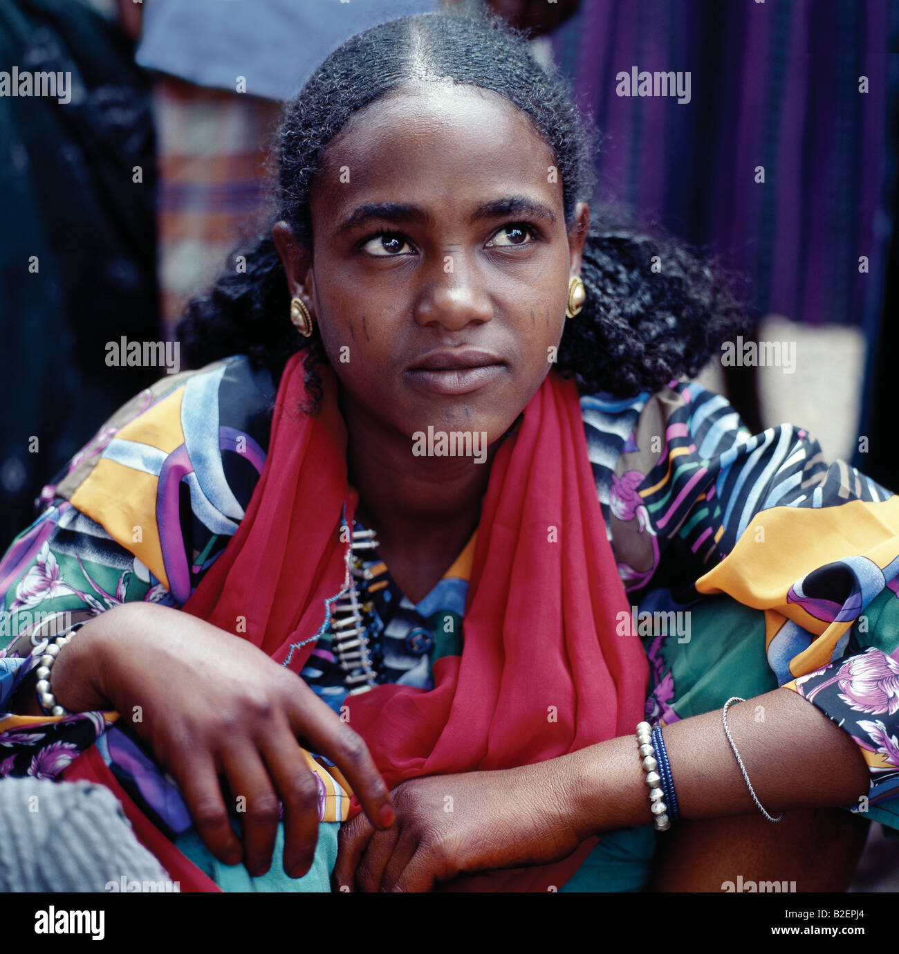 An attractive woman at Bati market. Bati is the largest open-air market in Ethiopia. - Stock Image