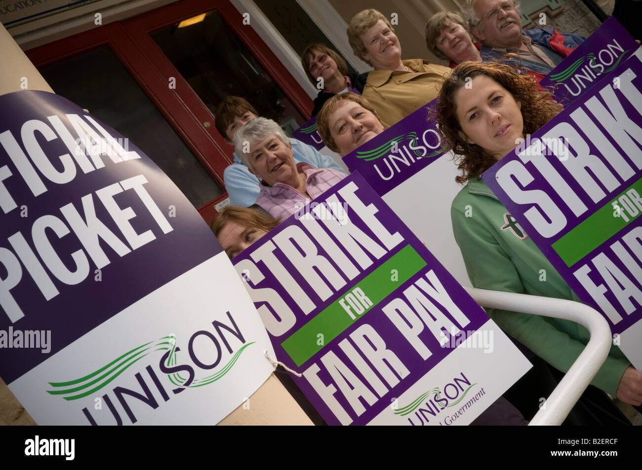 members of UNISON trade union on strike for fair pay picketing local authority offices Aberystwyth July 2008 - Stock Image