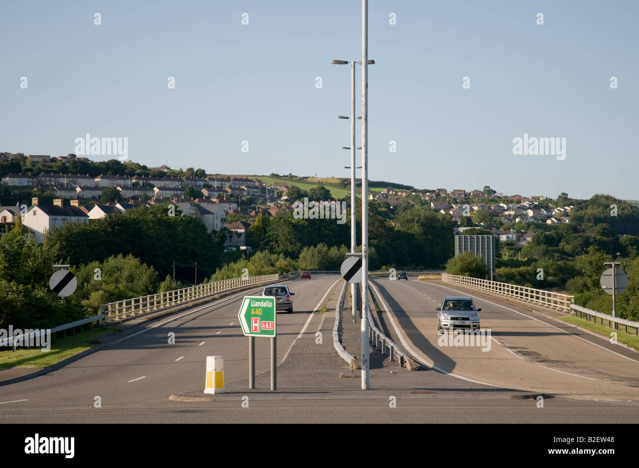 virtually empty traffic-free A40 dual carriageway road, the Carmarthen by-pass Wales UK, summer afternoon - Stock Image