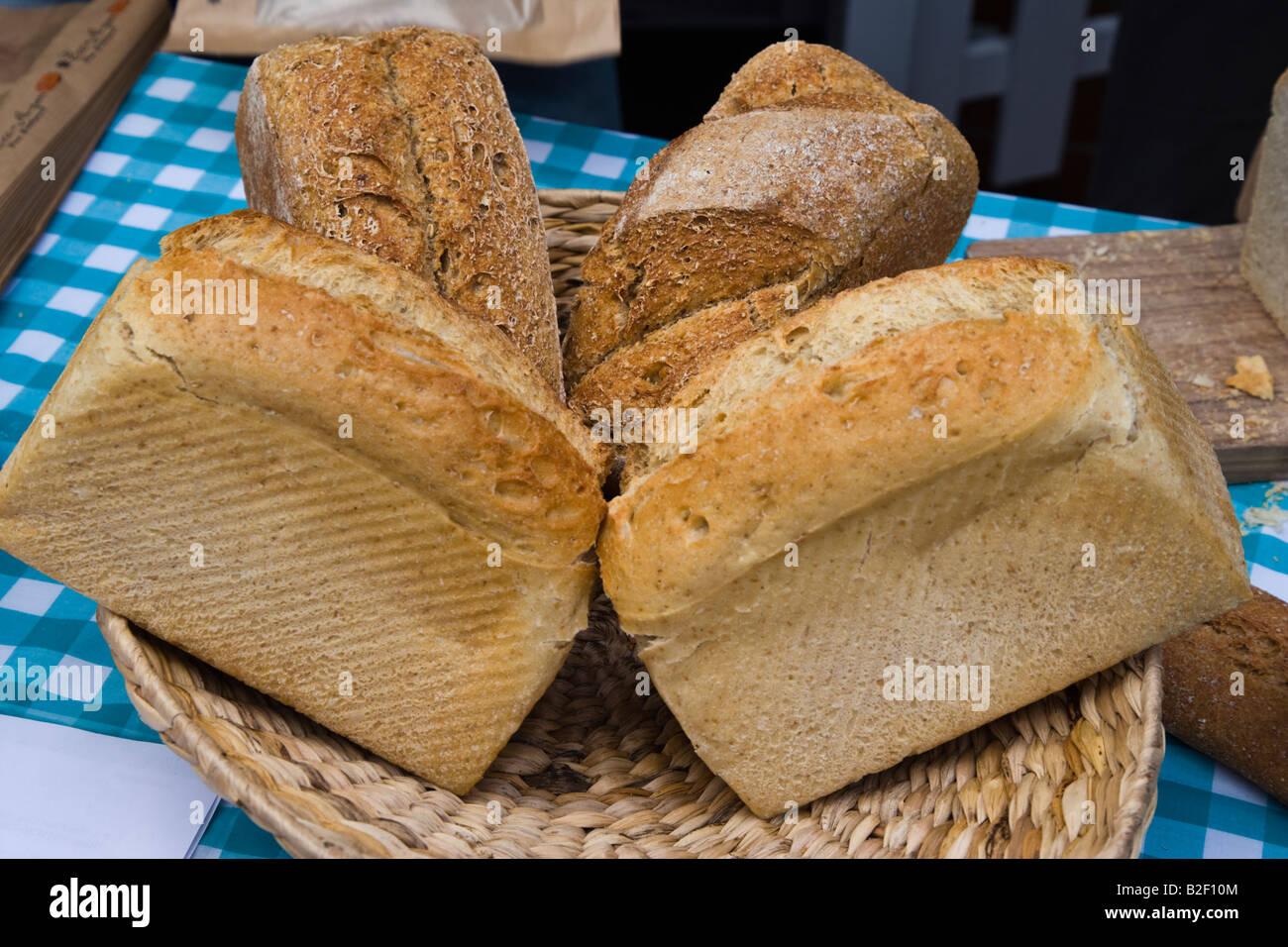 Loaves of white and brown bread - Stock Image