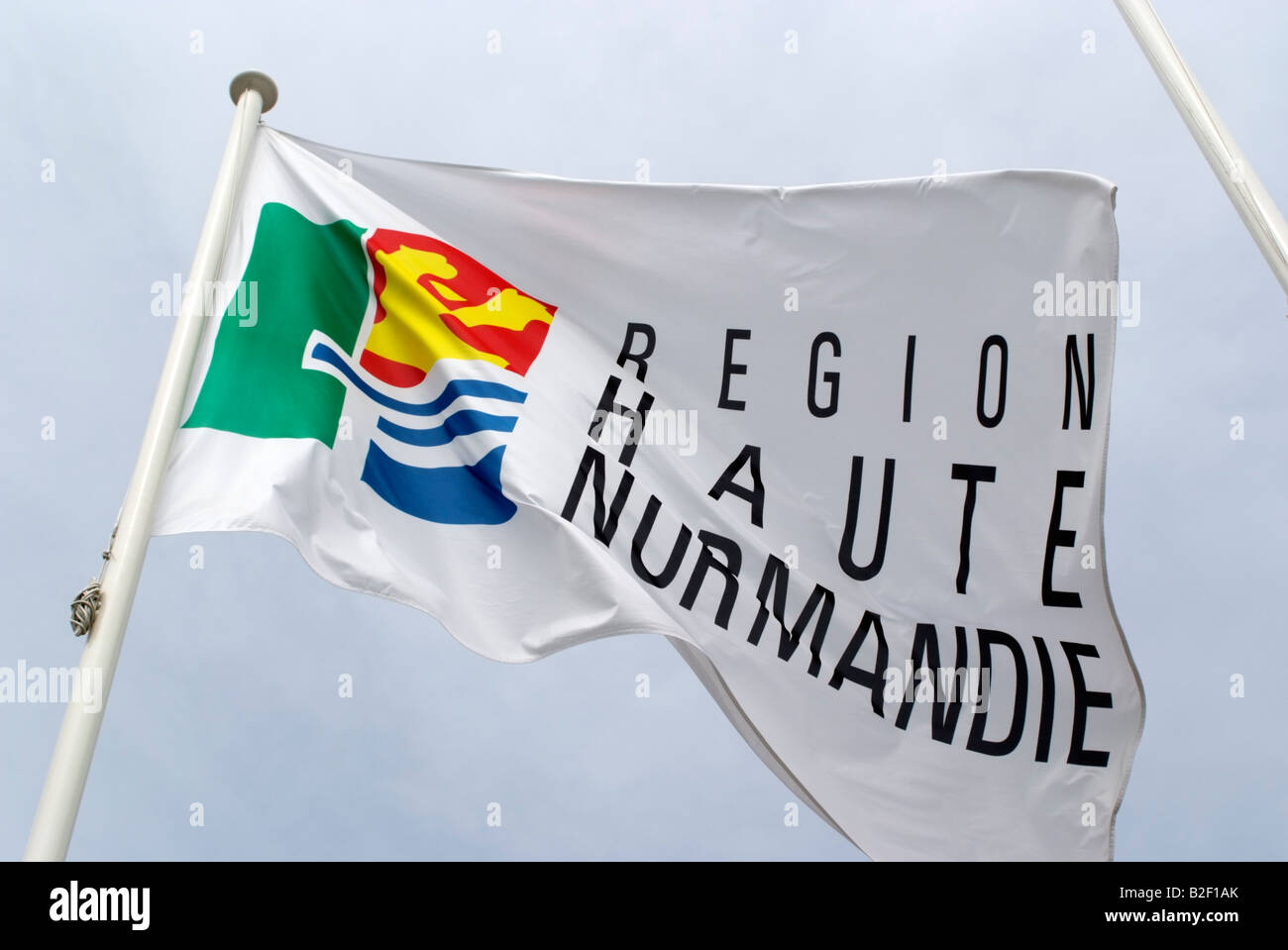 Haute Normandie flag flying northern France Europe - Stock Image