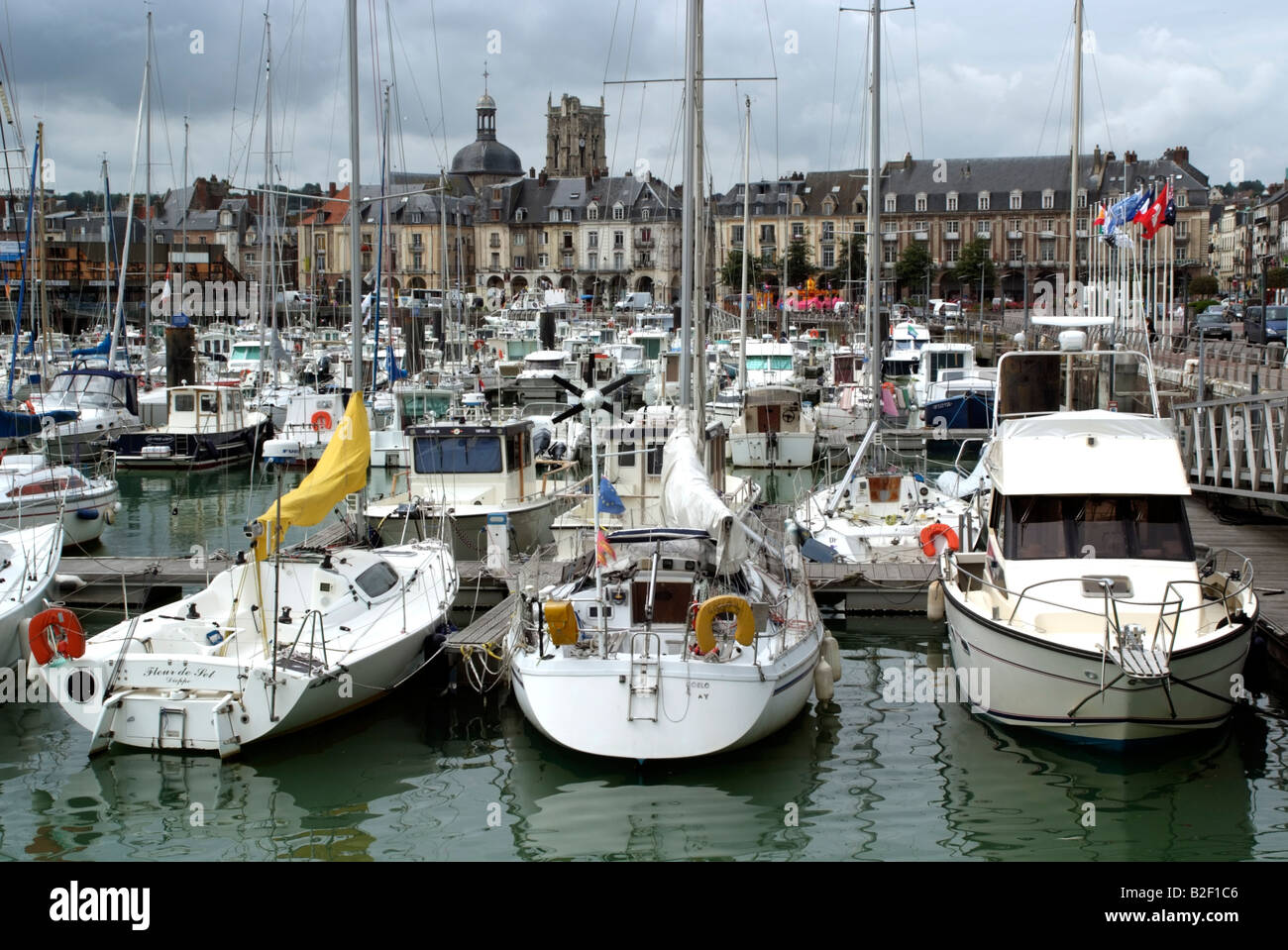 Yachts and boating marina in Dieppe northern France Europe - Stock Image