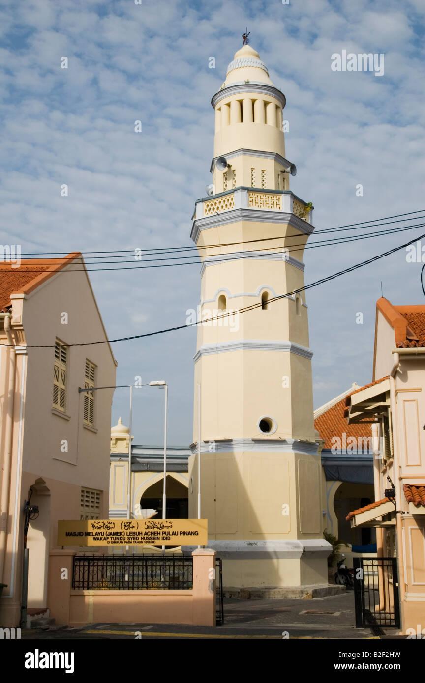 The restored octagonal minaret of Masjid Melayu Lebuh Acheh, Georgetown, Penang, Malaysia - Stock Image