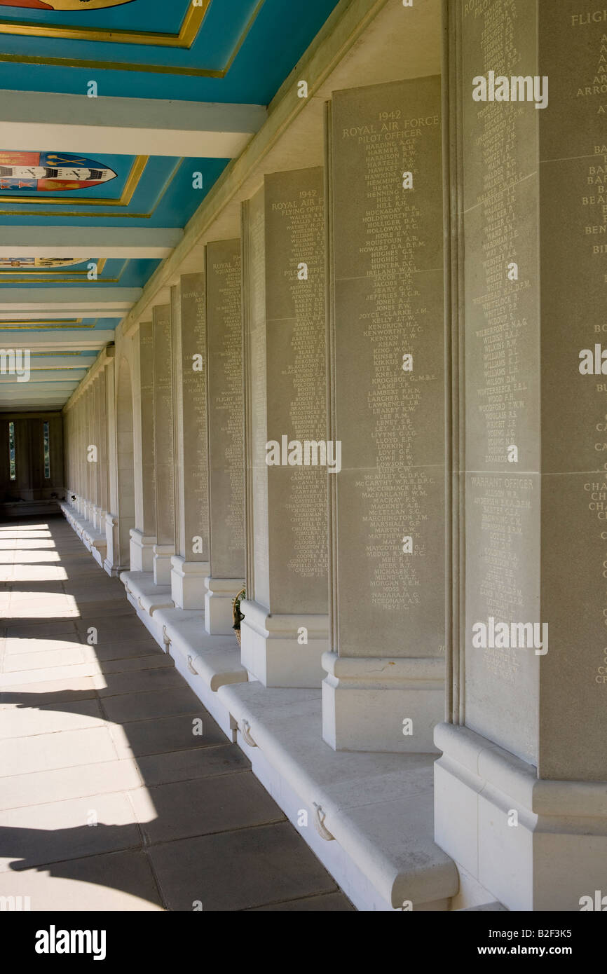 The cloisters with the dead airmens names The Air Force Memorial Runnymede Surrey Commonwealth war graves Commission - Stock Image