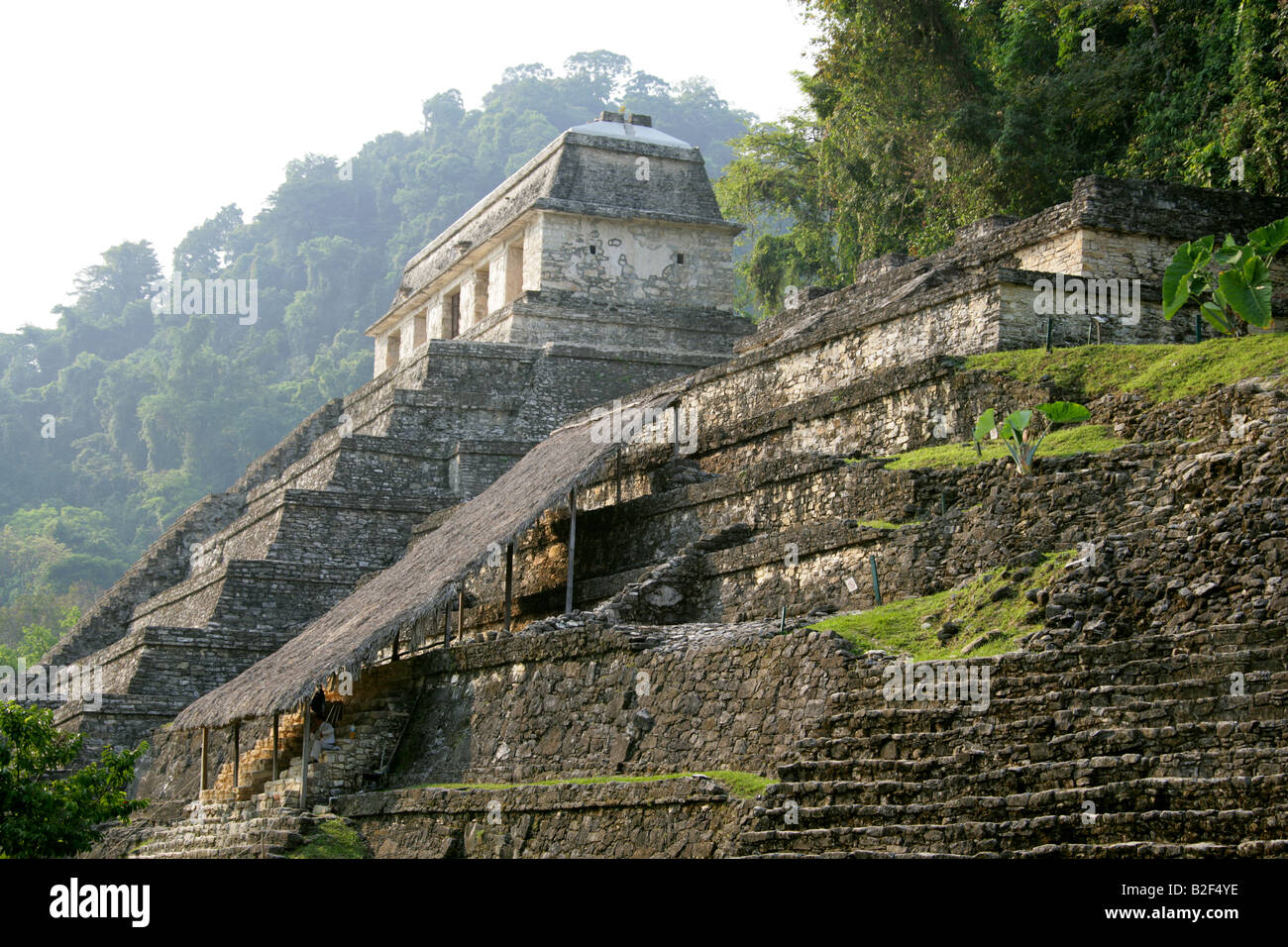 Temple of Inscriptions and Temple XIII, Palenque Archeological Site, Chiapas State, Mexico. Stock Photo