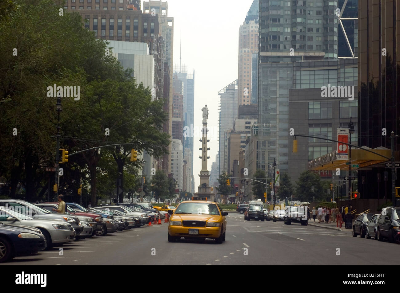 Central Park West in New York NY looking south towards Columbus Circle Stock Photo