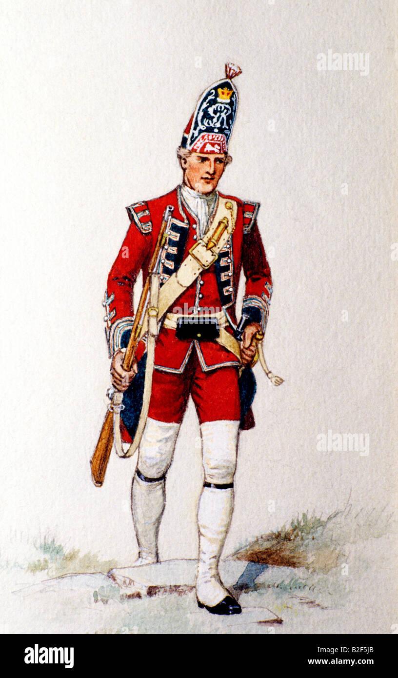 british english grenadier redcoat 1751 military uniform