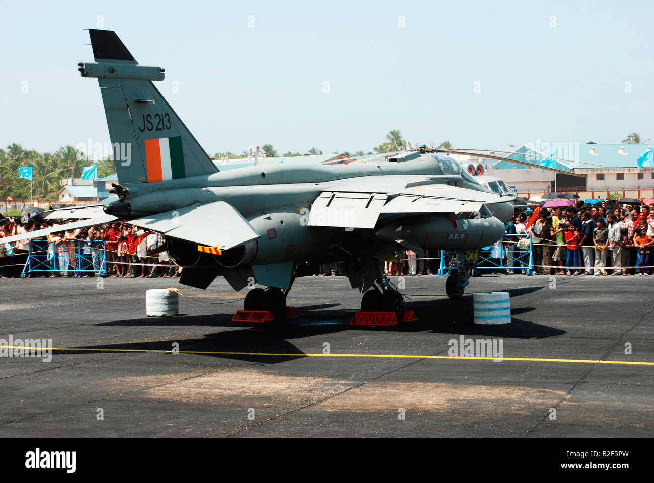An indian airforce aircraft parked in the tarmac - Stock Image