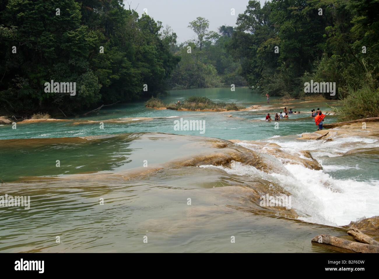 The Cataratas de Agua Azul, Nr Palenque, Chiapas State, Mexico. Stock Photo