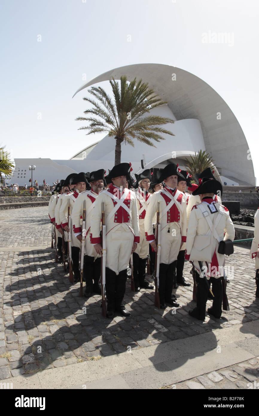 The Batallon de Canarias in front of the Auditorio before a reenactment of the 1797 battle of Santa Cruz, Tenerife Stock Photo