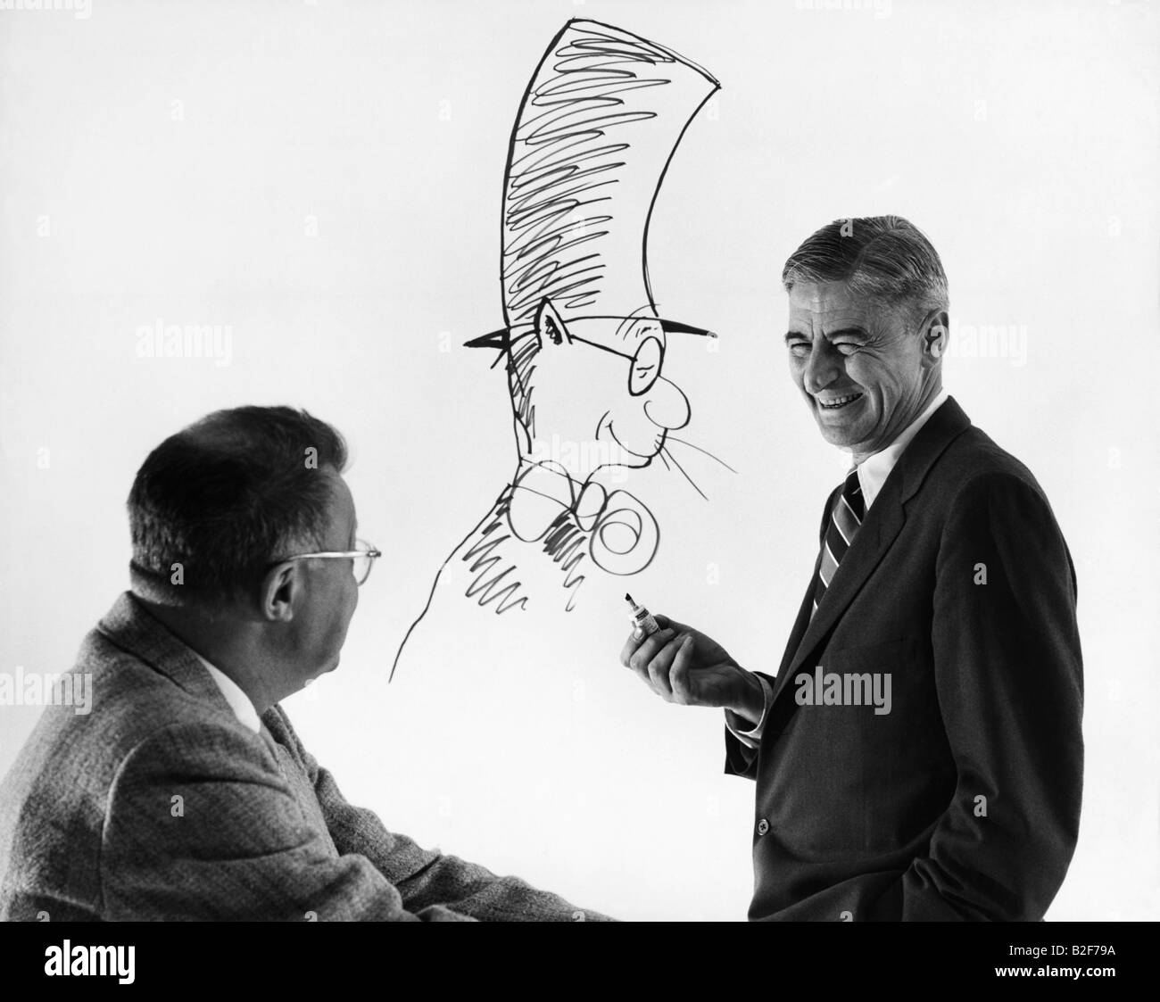 Children's book author and artist, Dr Seuss (Theodor Geisel),  with editor Fadiman. - Stock Image