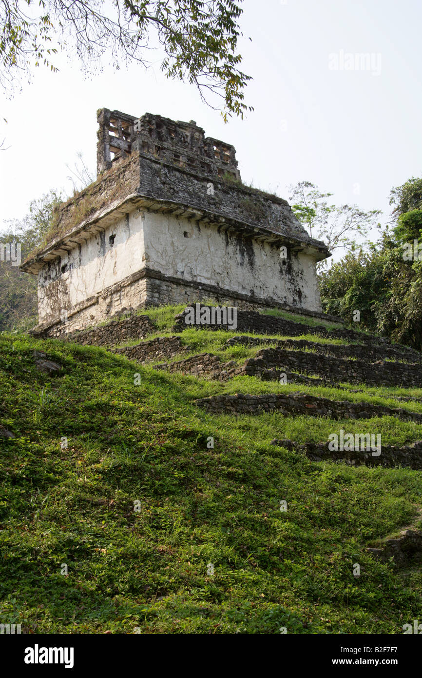 Temple of the Sun, Palenque Archeological Site, Chiapas State, Mexico Stock Photo