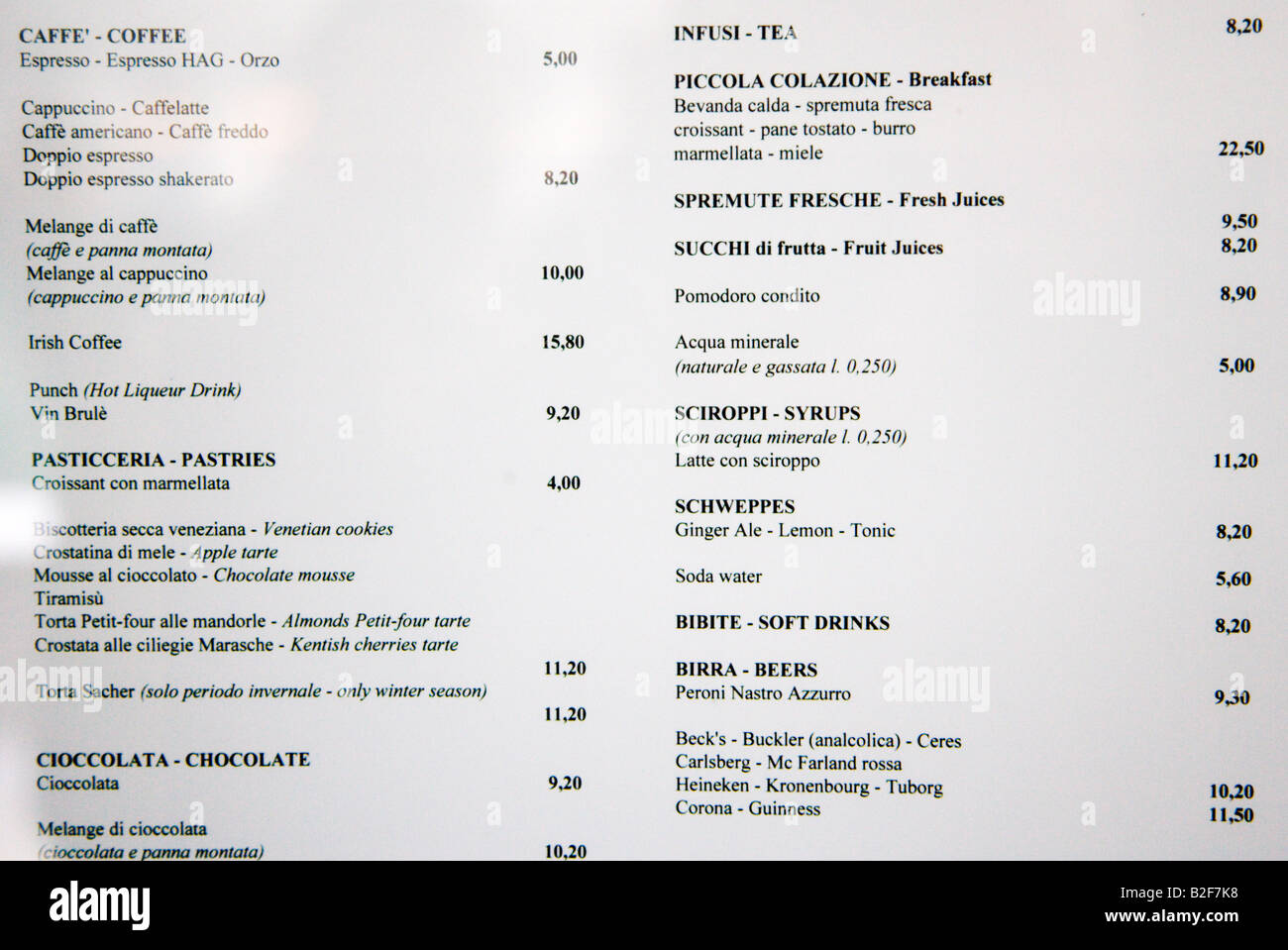 Cafe Florian Menu showing prices Venice Italy - Stock Image
