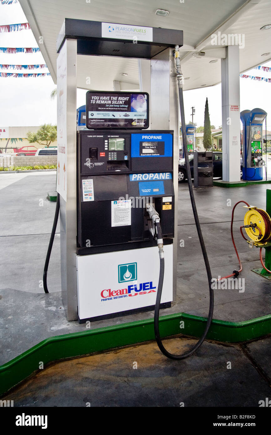 A propane natural gas pump at a San Diego filling station offers an alternative fuel for ecologically concerned - Stock Image