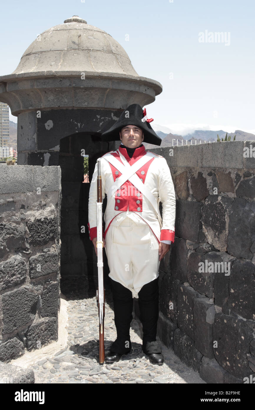 A member of the Spanish forces played by Carlos Pineda after a reenactment of the 1797 battle of Santa Cruz, Tenerife Stock Photo