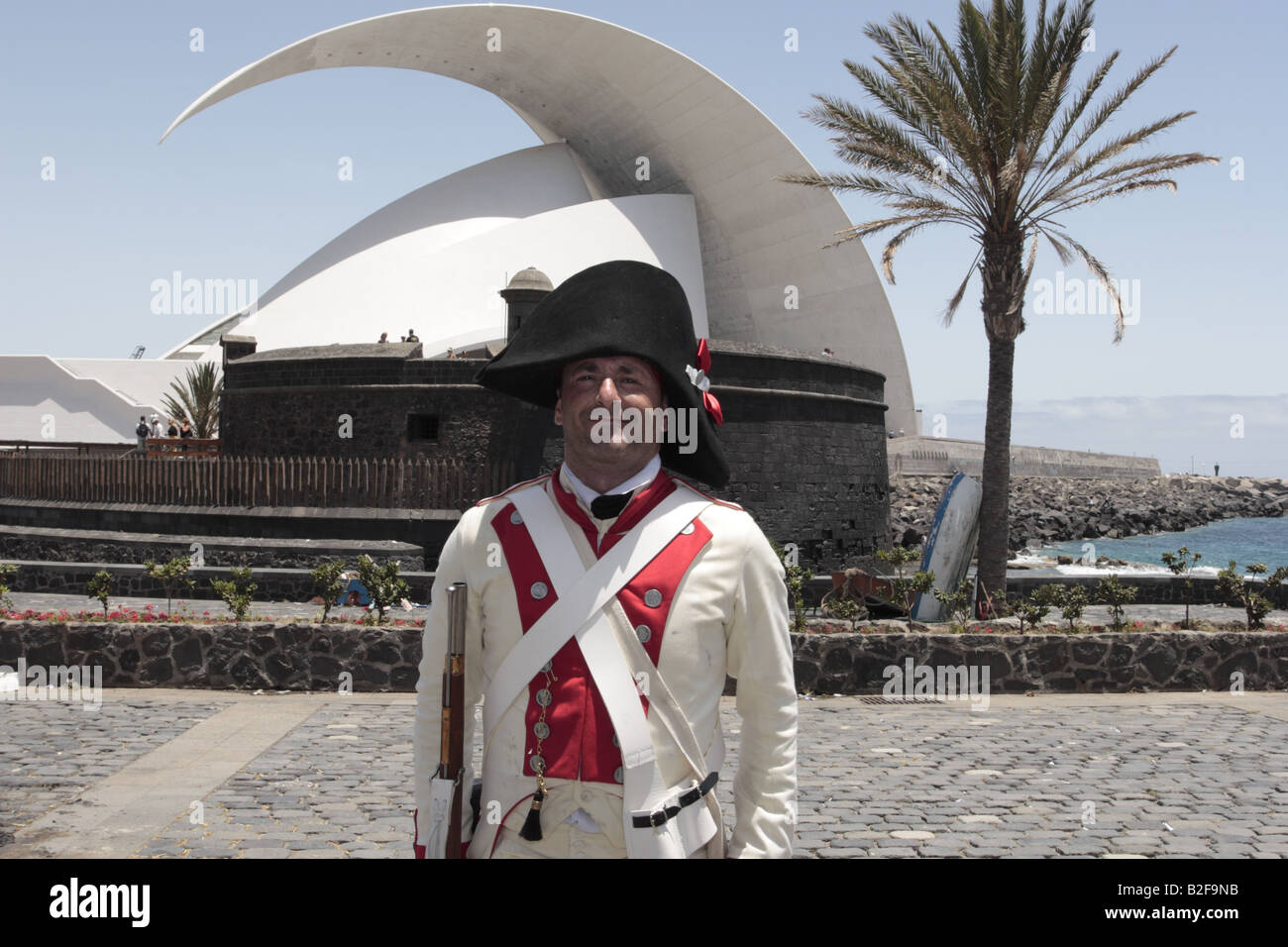 A member of the Spanish forces played by Miguel Diaz Llanos Fernandez de la Puente after a reenactment of the 1797 battle of Santa Cruz, Tenerife Stock Photo