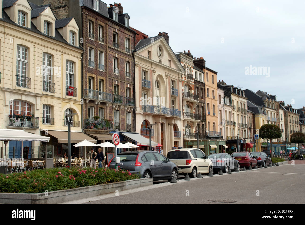 Seafront properties in the coastal town of Dieppe northern France Europe - Stock Image