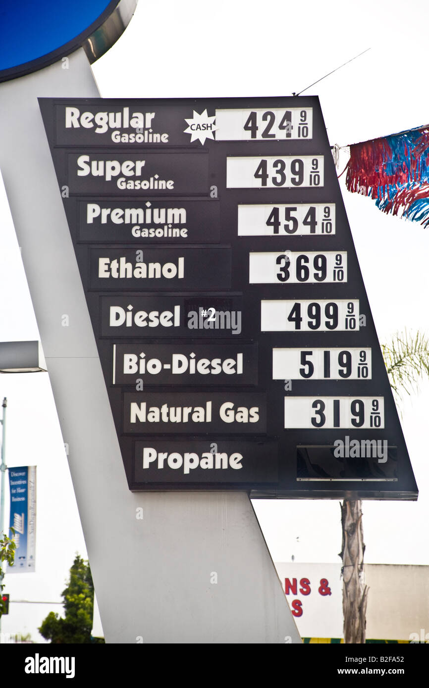 A sign advertising propane biodiesel ethanol and natural gas and gasoline at a San Diego filling station offer alternative - Stock Image