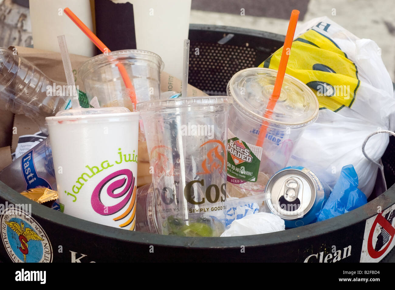 An full trash can in New York Stock Photo