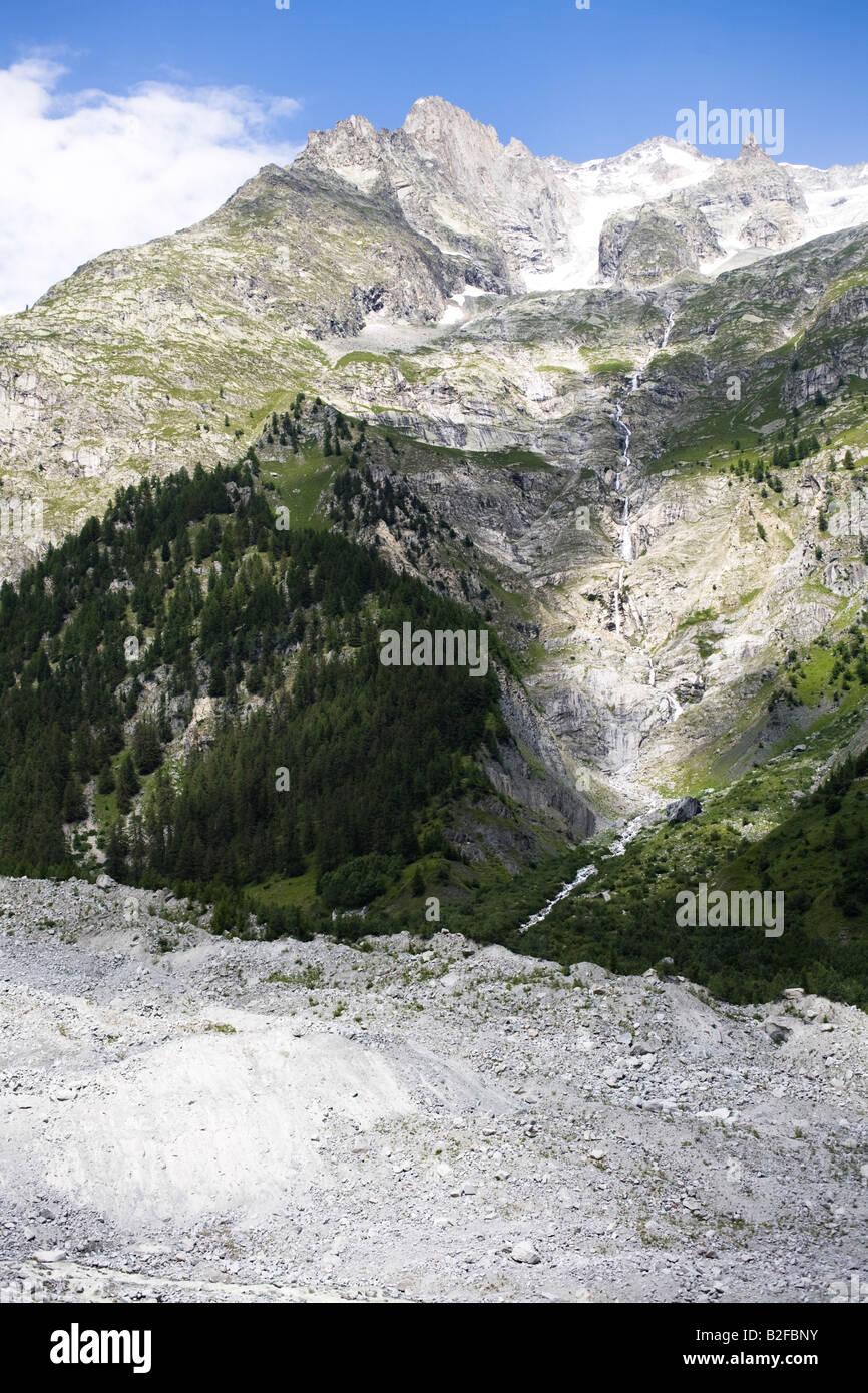 Mont Blanc glacier, Val Veny, Courmayeur, Valle d'Aosta, Italy - Stock Image