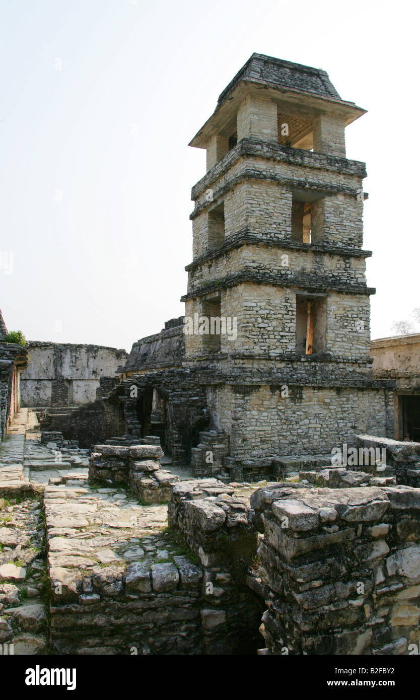 Palace Tower or Observatory, Palenque Archeological Site, Chiapas State, Mexico Stock Photo