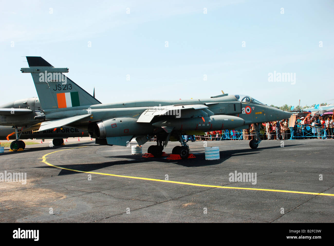 An indian airforce aircraft parked in the tarmach - Stock Image