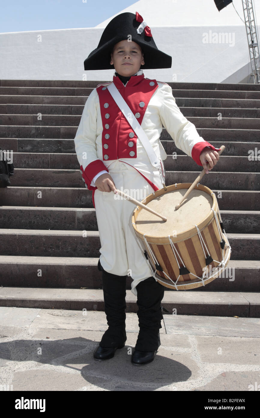 The Drummer of the Batallon de Canarias played by Jonathan Morales in a reenactment of the 1797 battle of Santa Cruz, Tenerife Stock Photo