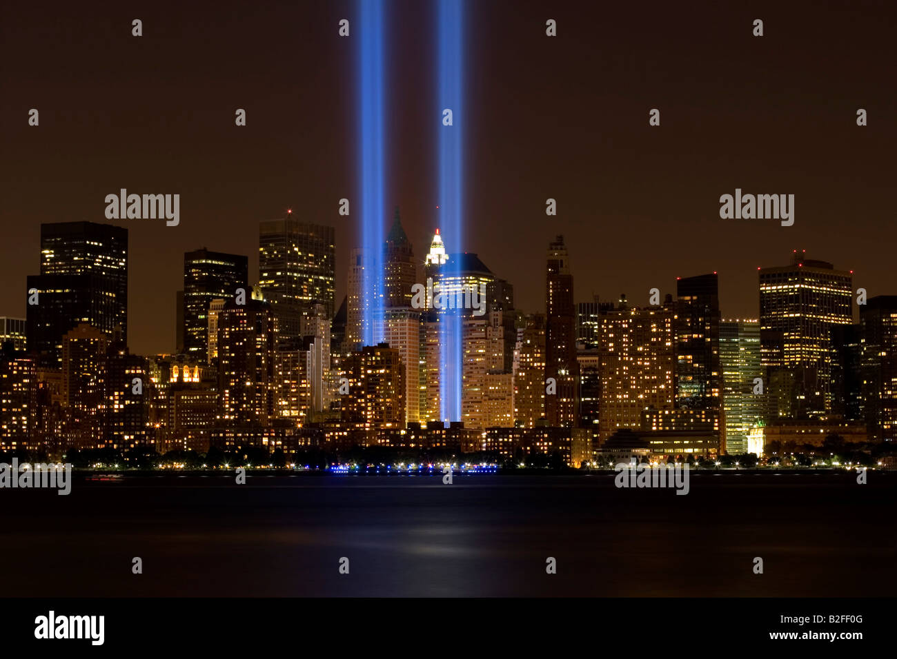 New York City World Trade Center Blue Lights   Stock Image