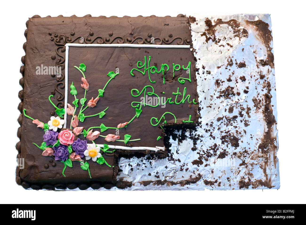 Partially Eaten Chocolate Birthday Cake - Stock Image