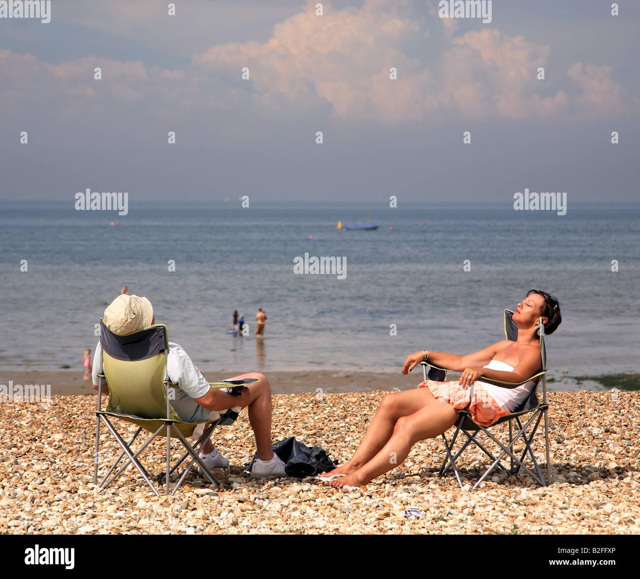 beach scene whitstable englan - Stock Image