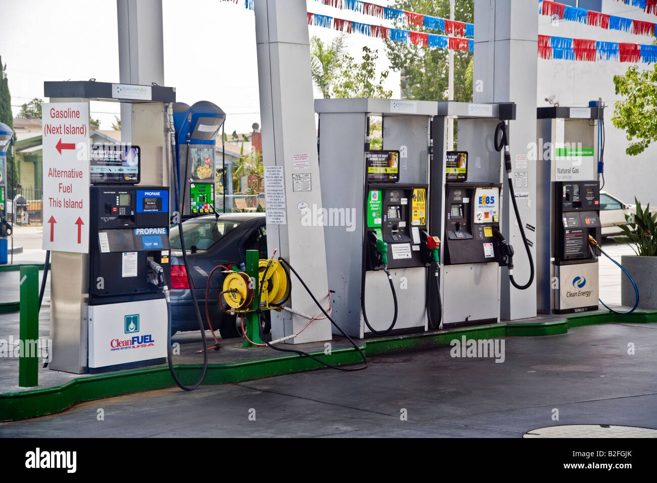 Pumps for propane biodiesel ethanol and natural gas at a San Diego filling station offer an alternative fuel Note - Stock Image