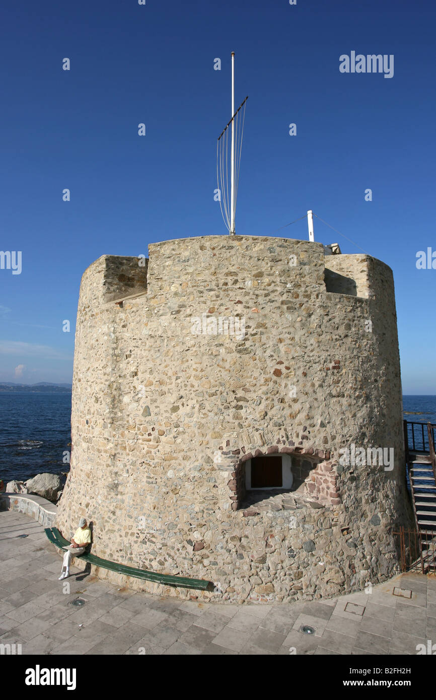 Tower on the harbour front of St Tropez, France. - Stock Image