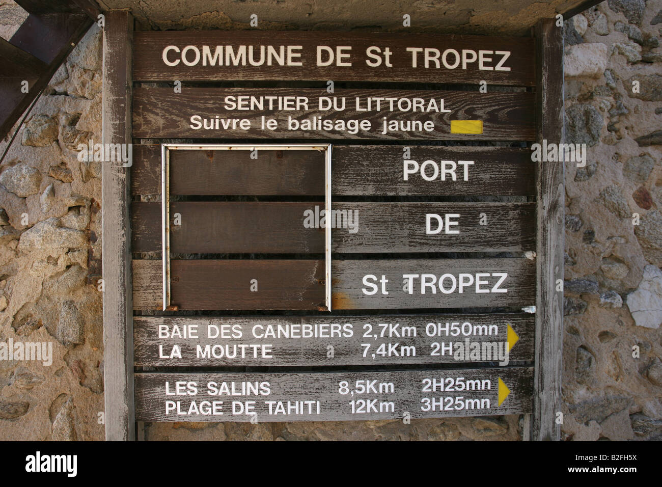 Sign on the harbour front of St Tropez, France. - Stock Image