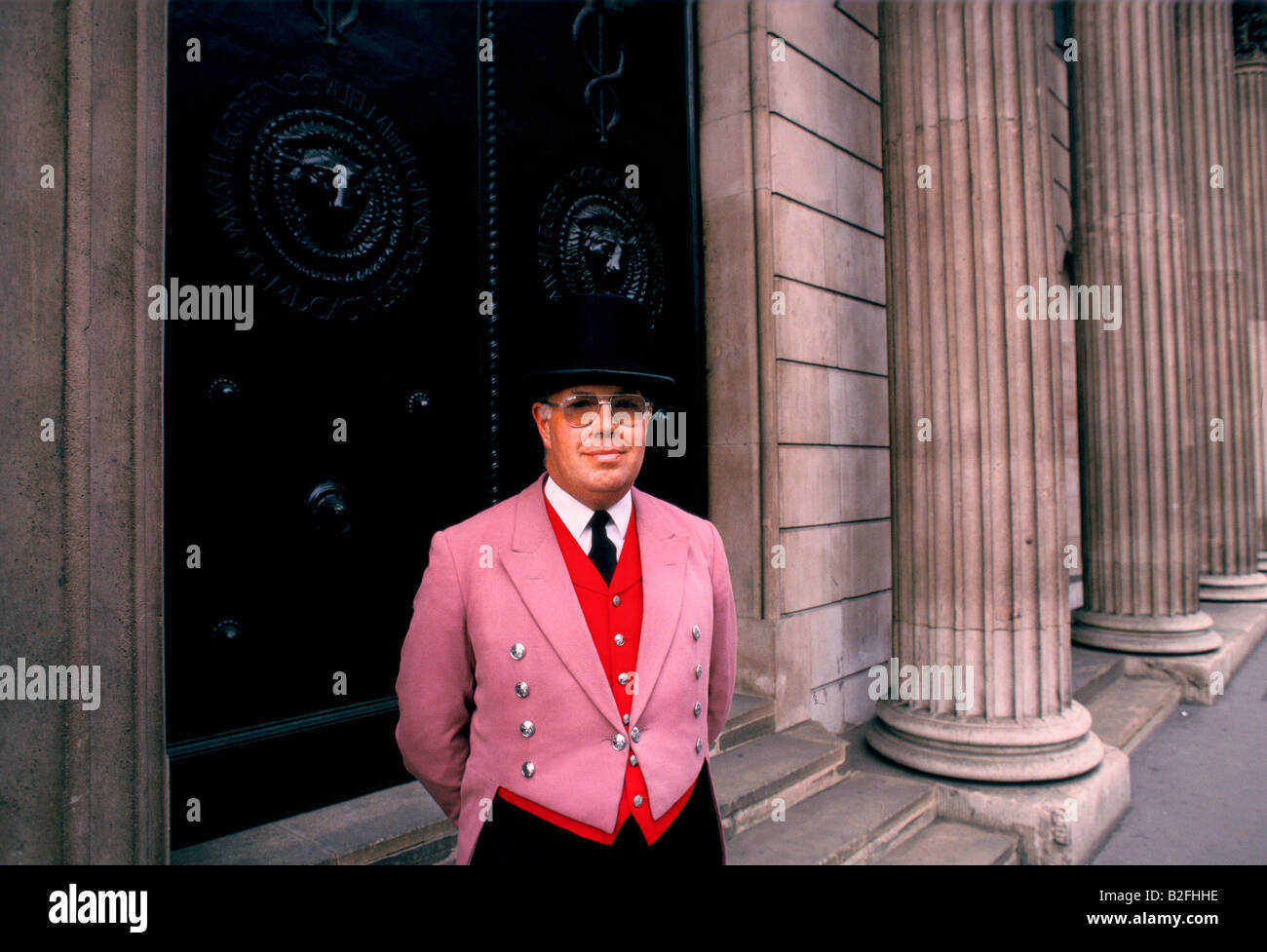 doorman outside the bank of england, london - Stock Image