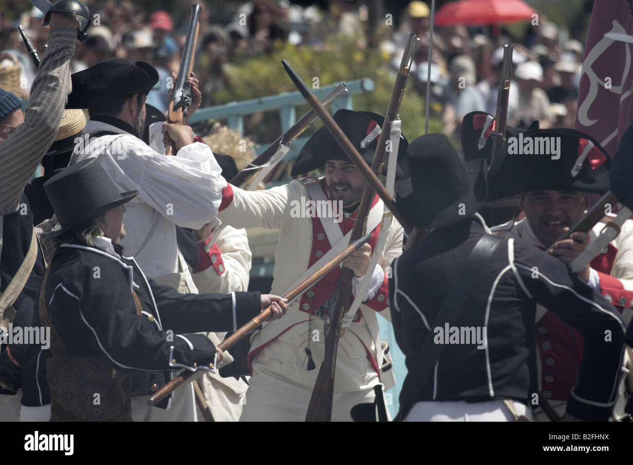 Hand to hand fighting during a reenactment of the 1797 battle of Santa Cruz, Tenerife Stock Photo