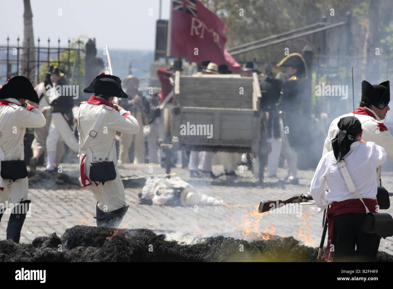 The Batallon de Canarias chase the English troops during a reenactment of the 1797 battle of Santa Cruz, Tenerife Stock Photo