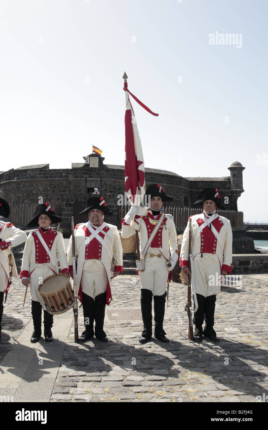 The Drummer and Flag Bearer of the Batallon de Canarias in front of the Castillo Negro before a reenactment of the 1797 battle of Santa Cruz Tenerife Stock Photo