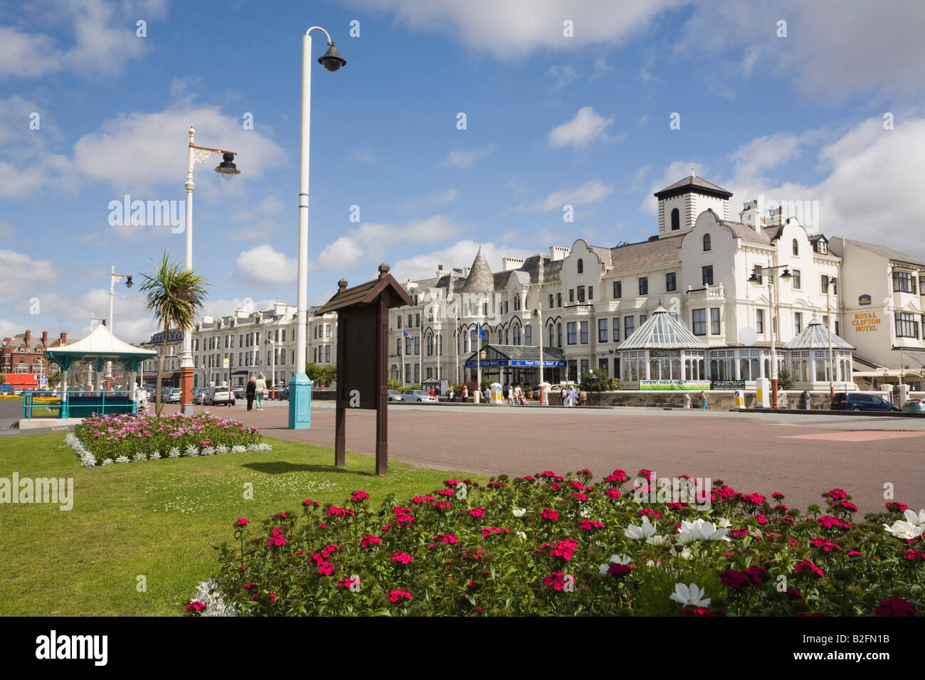 Seafront gardens on promenade and Victorian hotels in classic seaside resort in summer. Southport Merseyside England - Stock Image