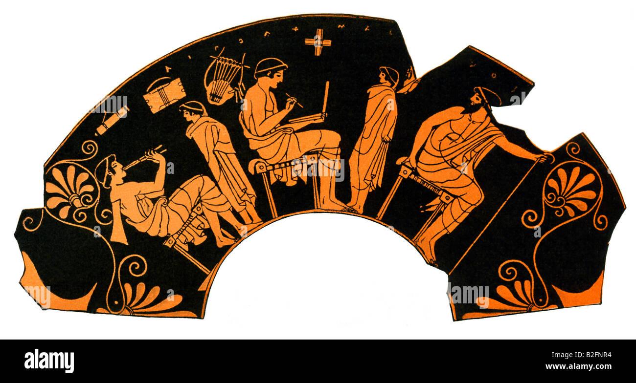 Greek School lesson 1 - Stock Image