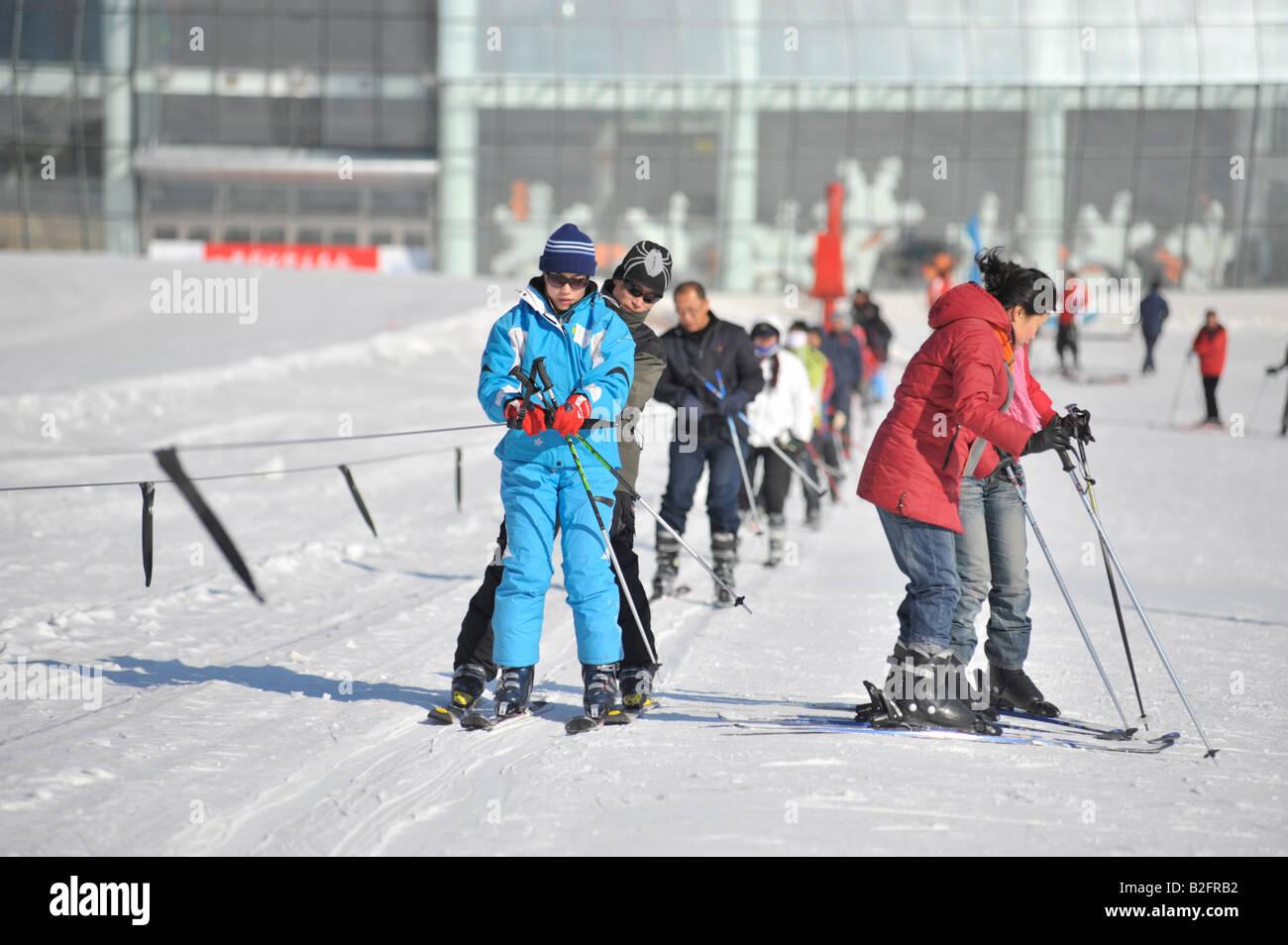 chinese skiers at yabuli ski resort 200km southeast of harbin stock