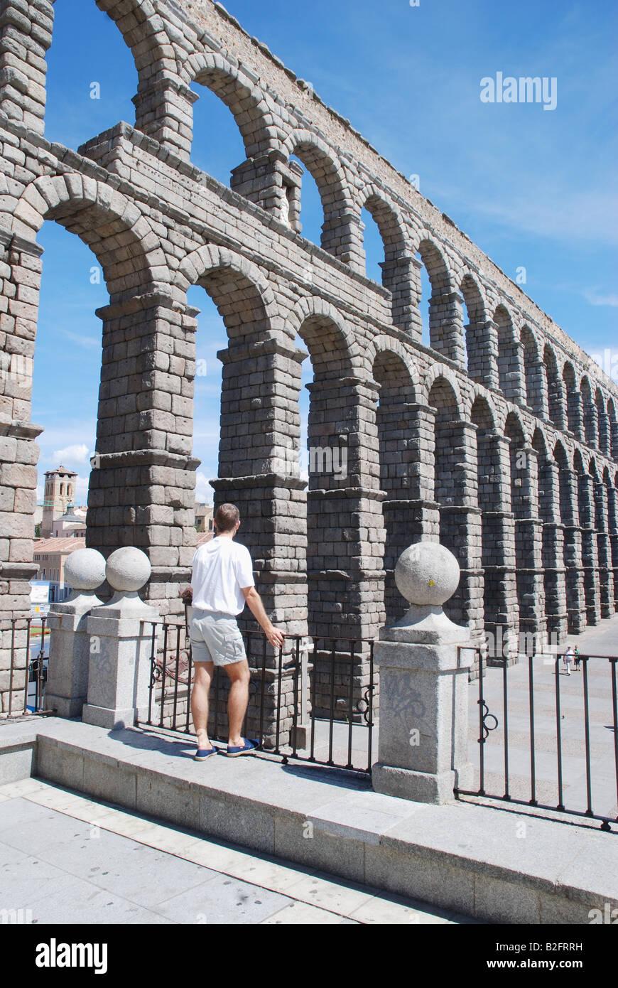 Roman Aqueduct from viewpoint. Segovia. Castile Leon. Spain. - Stock Image