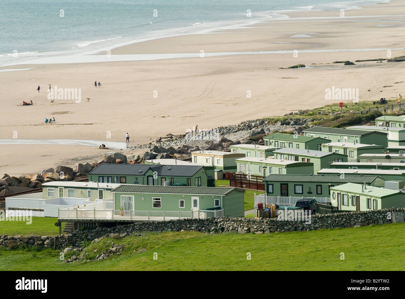 Permanent holiday home caravan park Barmouth Gwynedd UK Seaside resort west coast of North Wales HOMER SYKES - Stock Image