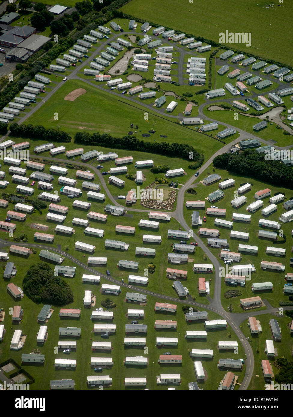 Mobile Home Park, on the coast north of Newcastle upon Tyne, North East England - Stock Image