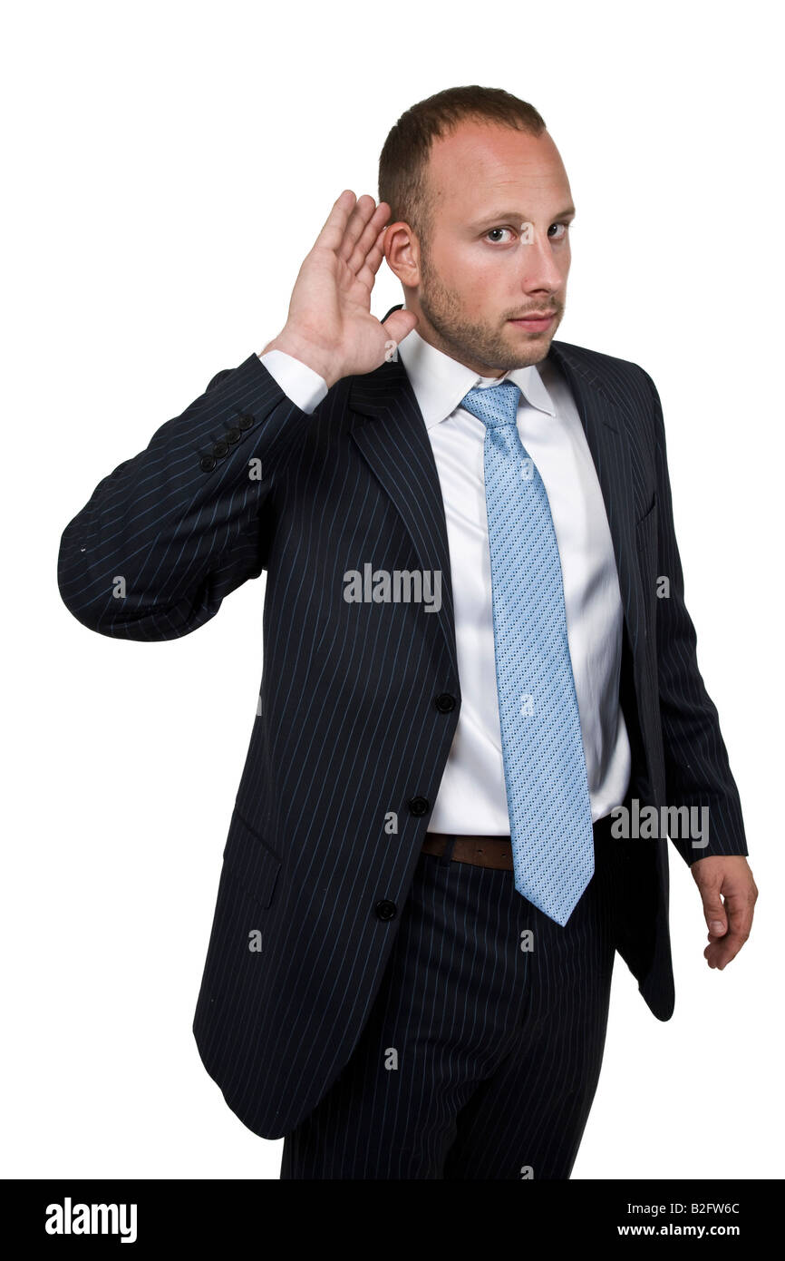 man holding his ear inattention - Stock Image