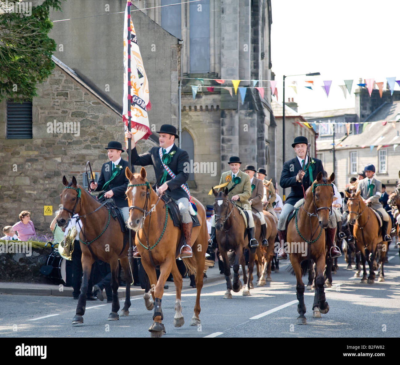 The Cornet With The Town Standard At The Langholm Common Riding Scotland UK Stock Photo