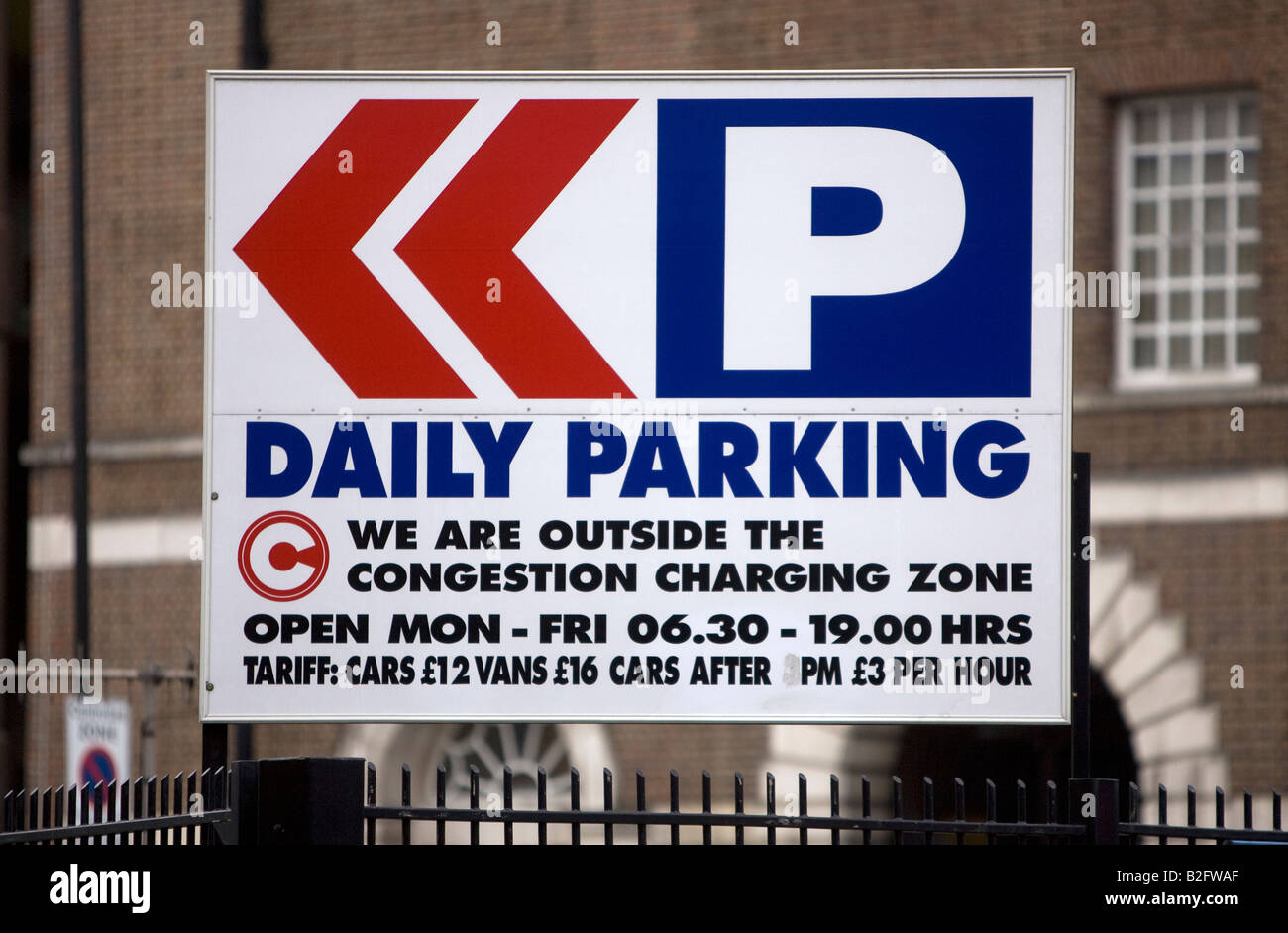 Parking sign outside the Congestion Charging Zone in London England UK Stock Photo