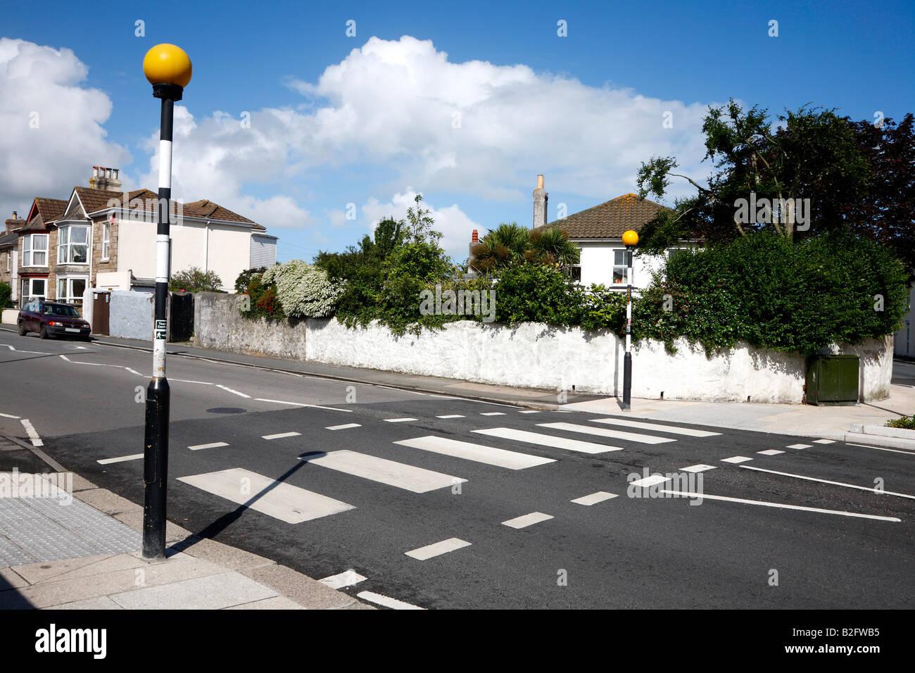 British Zebra pedestrian road crossing. Stock Photo