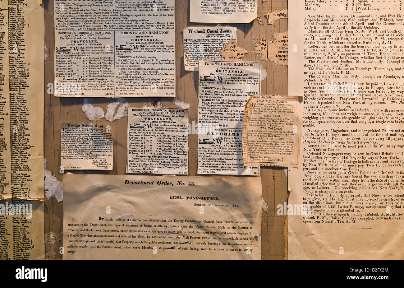19th century newspaper clippings classified ads and articles - Stock Image